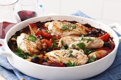 Baked chicken cacciatore----Capture those bold Italian flavours in this classic baked chicken stew that the family will love. Preparation: 0:20, Cook: 0:35, Serves: 4, Rated: 4/5 stars by 2 people.