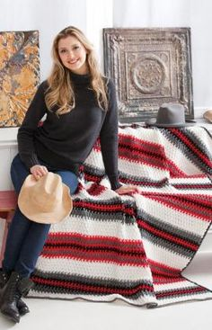 Textured Stripes Throw | AllFreeCrochetAfghanPatterns.com