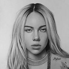 billie eilish portrait Pencil portrait b - portrait Dark Art Drawings, Pencil Art Drawings, Realistic Drawings, Art Drawings Sketches, Easy Drawings, Drawing Drawing, Portrait Au Crayon, Pencil Portrait, Portrait Art