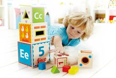 Hape Pyramid of Play - Letters, numbers, shapes, stacking, nesting - so many ways to play and learn!
