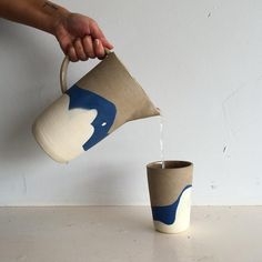 Helen Levi Ceramic Cups, Ceramic Pitcher, Ceramic Tableware, Ceramic Art, Ceramic Pottery, Kitchenware, Carafe, Vases, Ceramic Techniques