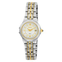 Seiko Women's SXDB16 Le Grand Sport Two-Tone Watch Seiko. $117.99. Analog date display positioned at three o'clock hour. Polished gold-tone hour and minute hands and sweep seconds hand. Water resistant up to 165 feet (50 M). Gold-tone and black cabochon crown; scratch resistant sapphire crystal; stainless steel case-back. Reliable Japanese-quartz movement