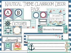 Nautical+classroom+theme | NAUTICAL THEME CLASSROOM DECOR PACK - TeachersPayTeachers.com