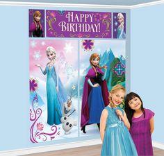 Vista frontal del mural decorativo de Frozen en stock