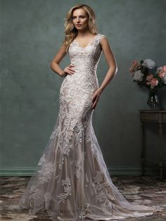 Amelia Sposa 2016 Wedding Dresses amelia sposa 2016 wedding dresses stunning cap sleeves v scallop neckline embroidered champagne gold fit flare mermaid dress pia Popular Wedding Dresses, 2016 Wedding Dresses, Bridal Dresses, Wedding Gowns, Bridesmaid Dresses, Lace Wedding, Mermaid Wedding, Dresses 2016, Party Gowns