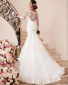 Vestido de novia Sirena Encaje Blanco/Marfil Vestido de boda vestido de manga larga personalizado talla grande