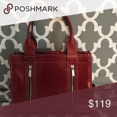 Very nice red Michael Michael Kors handbag. Gently used - very nice for career lady.  Accommodates letter size files &/or small laptop.  Very nice heavy leather. A super classy bag!  Stain free - interior in new condition with lots of compartments.  Can be used as regular bag or small brief. MICHAEL Michael Kors Bags Satchels