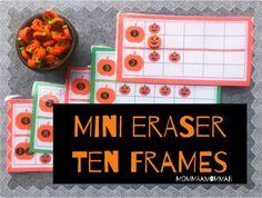 Pumpkin Miniature Eraser Counting Cards for Fall and Autumn Units - Preschool Pumpkin Images, Ten Frames, School Themes, Tot School, Autumn Leaves, Counting, Card Stock, Preschool, September