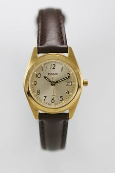 Pulsar Watch Womens Date Gold Stainless Water Res Brown Leather Champagne Quartz
