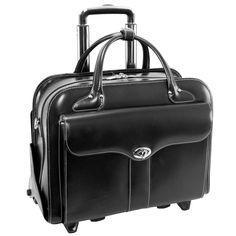 "BERKELEY | 15"" Leather Detachable-Wheeled Laptop Case - Black"