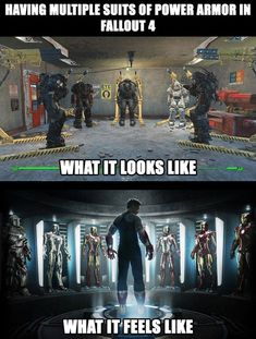 [Fallout Having multiple suits of power armor Fallout Funny, Fallout Art, Fallout New Vegas, Fallout Quotes, Fallout Comics, Video Game Logic, Video Games Funny, Funny Games, Gamer Humor