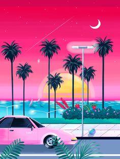 ideas for wallpaper iphone vintage summer beach Retro Kunst, Retro Art, Retro Color, Art Vaporwave, Pravana Pastels, Wallpaper Iphone Vintage, Illustrations, Illustration Art, Kitsch