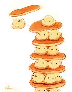 That's so cute Cute Food Drawings, Cute Animal Drawings Kawaii, Kawaii Art, Cute Food Art, Cute Art, Chibi Food, Rabbit Art, Cute Chibi, Cute Birds