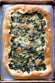 Focaccia with Lemony Greens & Parmesan