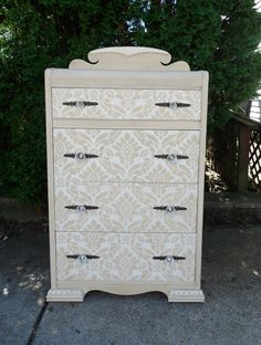 Stenciled Dresser | Classic Damask Stencil with Old Ochre and Pure White Chalk Paint® decorative paint | Project by The Primitive Attic