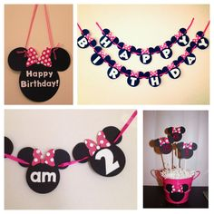 PARTY PACK --- Minnie Mouse or Mickey Mouse --- 4 items included --- Custom Decor - Pink or Red - Banner, Centerpiece, Door Sign, More on Etsy, $44.50