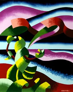 Mark Webster - The Rose Bush Hails the Last Taxi - Abstract Midnight Lake Landscape Oil Painting #2
