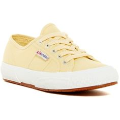 Superga Cotu Classic Sneaker ($42) ❤ liked on Polyvore featuring shoes, sneakers, pale yelw, superga, platform trainers, round toe sneakers, platform shoes and rubber sole shoes