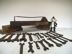 Antique Wrenches Collection of 20 Plus ToolBox  by DivineOrders
