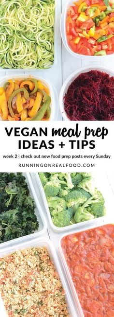 Food prep is everything when it comes to healthy eating! Check out these tips, ideas and inspiration for weekly vegan food prep. It's easier than you think. New posts every Sunday. http://runningonrealfood.com/vegan-meal-prep-ideas-week-2/