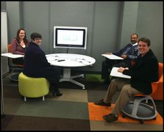 Some members of the Facilities and UIT staff enjoy checking out the media:scape  (University of North Texas)