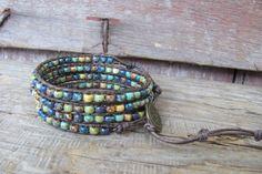 Chan Luu Style Beaded Leather 4x Wrap Bracelet