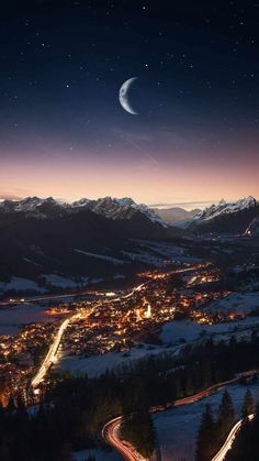 City in Mountains Night Moon - iPhone Wallpapers