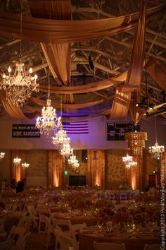 Ceiling Drape and Chandeliers How to transform a gym  Pink Monkey Solutions | Vail, Colorado | Denver, Colorado