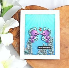 Hello there and welcome to day one of the Clearly Besotted teasers for May I cannot believe we are on the May release already, time . Mermaid Lagoon, Light Rays, Seahorses, Simon Says Stamp, Hero Arts, Copic Markers, Distress Ink, Creative Cards, Anniversary Cards