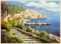 Aegean and Mediterranean Painting - mt027 impressionist scene Med