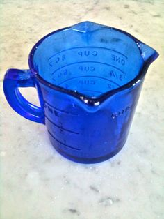 *MEASURING CUP ~ Vintage Cobalt Depression Glass I have this. actually I have two of these in this model, one is cobalt and the other white.