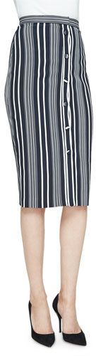 Altuzarra Balthazar Button-Front Classic Pencil Skirt, Black/White Stripe