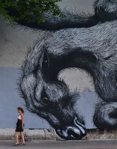 New Environmental Street Art, ROA street art, Date Unknown. I really like the texture of the horse like creature, the artist makes it look fuzzy and fury. Street Wall Art, Murals Street Art, Best Street Art, Amazing Street Art, Street Art Graffiti, Mural Art, Amazing Art, Mural Painting, Brooklyn