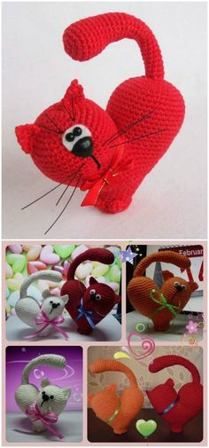 you are good at crocheting then here is a big list of free crochet cat patterns for you!valentine's Day Heart Cat Crochet Pattern