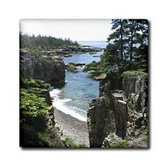 """Acadia National Park - Schoodic Coast - 12 Inch Ceramic Tile by 3dRose. $22.99. Construction grade. Floor installation not recommended.. High gloss finish. Dimensions: 12"""" H x 12"""" W x 1/4"""" D. Image applied to the top surface. Clean with mild detergent. Acadia National Park - Schoodic Coast Tile is great for a backsplash, countertop or as an accent. This commercial quality construction grade tile has a high gloss finish. The image is applied to the top surface and can be cleaned ..."""