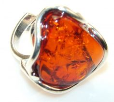 Fabulous Polish Amber Sterling Silver Ring s.7 - Adjustable
