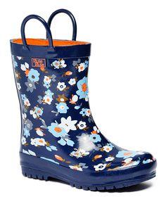 Navy Flower Rain Boot