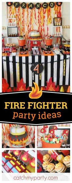 Check out this hot Fire Fighter birthday party! The dessert table and decorations are awesome!! See more party ideas and share yours at CatchMyParty.com