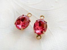 Vintage Deep Pink Rose Rhinestone Glass by alyssabethsvintage, $3.75
