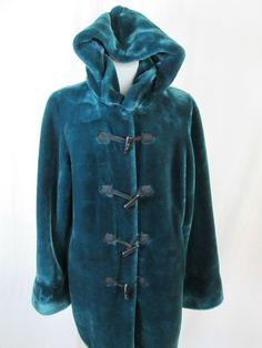 Dennis Basso Women's Faux Fur Dark Emerald Green Duffle Coat Jacket Size M #DennisBasso #BasicCoat #All