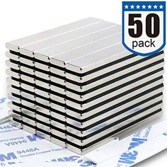 nice Strong Neodymium Bar Magnets (50 Pack) - 2X Stronger, 2X Thicker, Powerful Rare Earth Magnets - Industrial Strength NdFeB Magnet Set for Fridge, DIY, Crafts - 60 x 10 x 3 mm Magnetic Tape, Rc Hobbies, Theatre Design, Exhibition Display, Copper Nickel, Rare Earth Magnets, Neodymium Magnets, Refrigerator Magnets, Shower Doors
