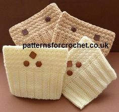 Patterned Boot Cuffs ~ Patterns For Crochet Crochet Boot Cuff Pattern, Knitted Boot Cuffs, Crochet Boots, Crochet Gloves, Crochet Slippers, Crochet Patterns, Crochet Ideas, Headband Crochet, Crochet Crafts