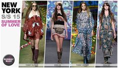 Women's NYFW, key trends, summer of love, The Summer of Love girl is festival-ready at Tommy Hilfiger and Anna Sui. Both designers incorporated looks for the bohemian spirited or pyschedelic hippie. Flowing chiffon maxi dresses were often printed or embroidered, and denim was a highlight with patchwork techniques. Crochet and openwork knits were used for layers.