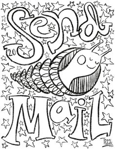 Check out surface pattern designer and illustrator Tracey Wirth's free coloring pages. Free Coloring Pages, Surface Pattern Design, Elephant, Snail Mail, Day, Illustration, Post Office, Illustrations, Elephants
