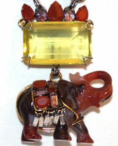 Iradj Moini Carved Carnelian Elephant Pendant Necklace Pin Amethysts Citrine | eBay