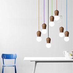 Wooden socket pendant light