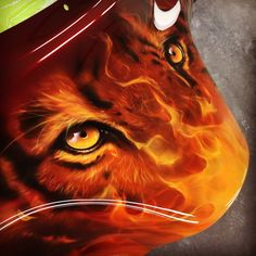 Airbrushed Tiger Eyes on a Motorcycle Fairing - Painted by Mike Lavallee of Killer Paint - www.killerpaint.com