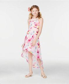 7b535708405 Big Girls Plus-Size Floral-Print High-Low Dress
