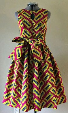 african fashion ankara Quirky Fall Dress African Wax Print Keyhole Bodice Fit and Flare Cotton Hot Pink Yellow Black Geometric Print With Pockets and Belt. African Fashion Ankara, Ghanaian Fashion, African Inspired Fashion, Latest African Fashion Dresses, African Dresses For Women, African Print Dresses, African Print Fashion, Africa Fashion, African Attire