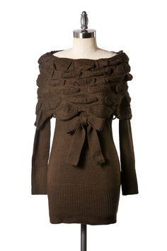 Desk to Dinner Sweater Dress - Brown